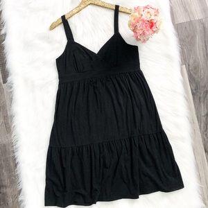 LOFT Ann Taylor Black A-Line Babydoll Dress